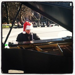 Loving the empty streets of #NYC today. Paying visits to my favorite city characters. This guy and his baby grand... Love.
