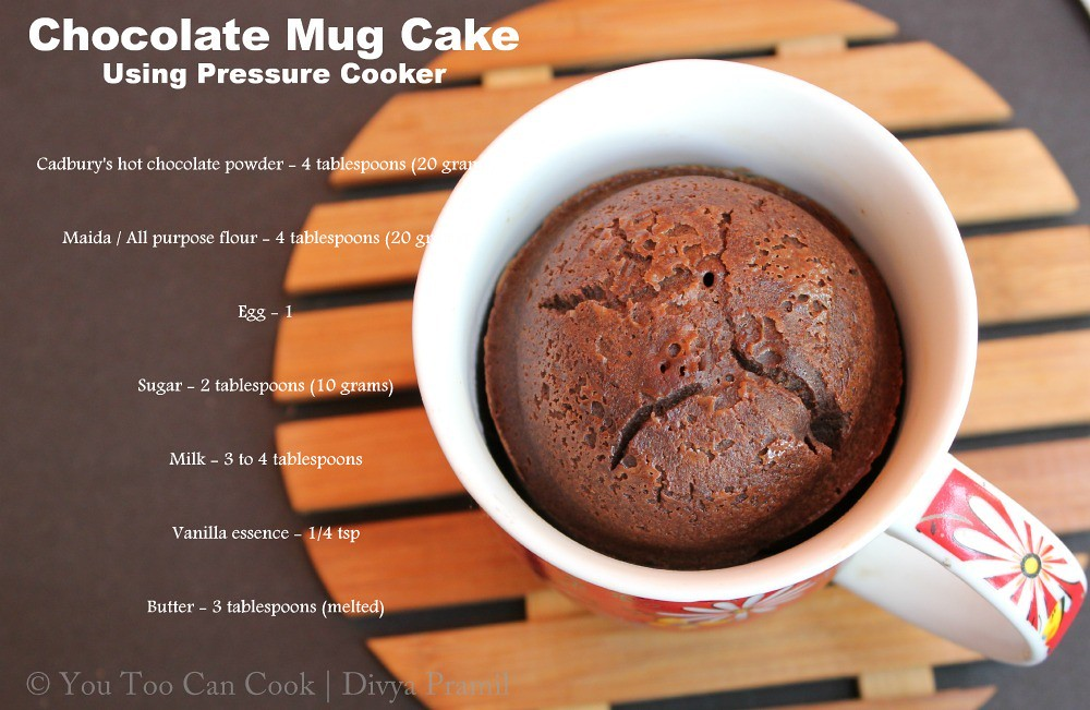 Basic Cake Recipe In Pressure Cooker: Chocolate Mug Cake Using Pressure Cooker