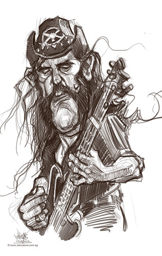 digital caricature sketch of Lemmy Kilmister
