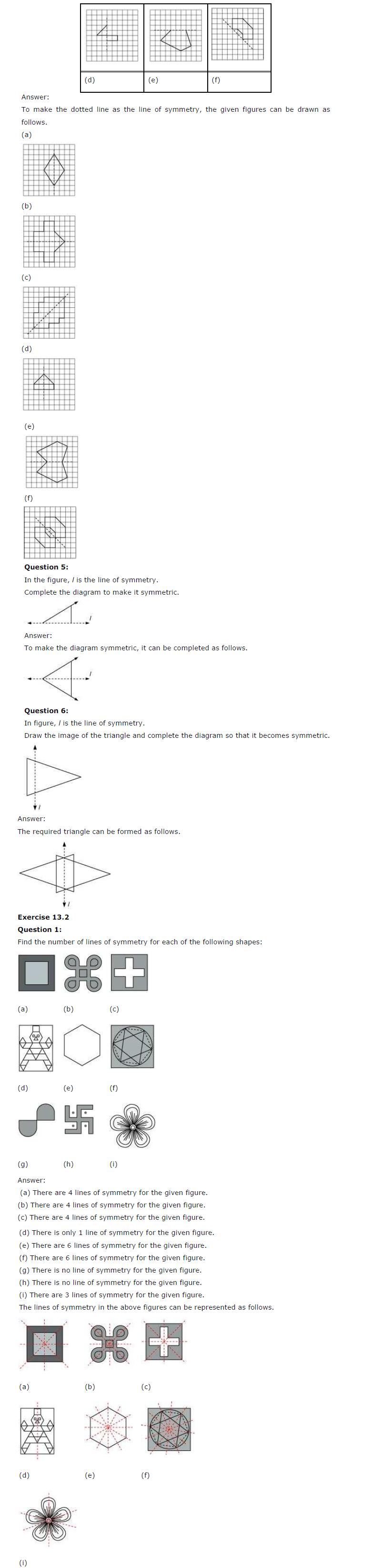 NCERT Solutions for Class 6 Maths Chapter 13 – Symmetry | AglaSem ...