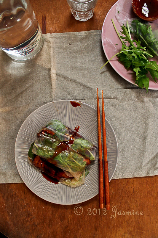 Caramelised Chicken and Mizuna Rice Paper Rolls