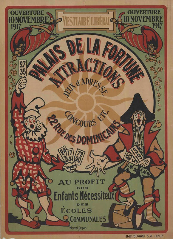 French poster advert for war effort event: clown and historical military-type are the main characters among the written message