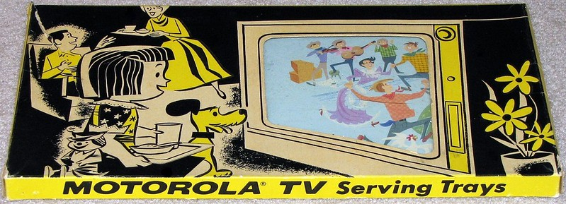 Vintage 1950s Motorola TV Serving Trays, Sold Along with Motorola Televisions in Dealer Stores, Just What Was Needed When Serving Those Delicious Frozen Swanson and Banquet TV Dinners in Their Aluminum Trays