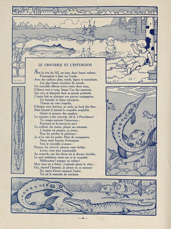 monotone kid's book poem with comicesque prints of crocodiles and fish around the margins
