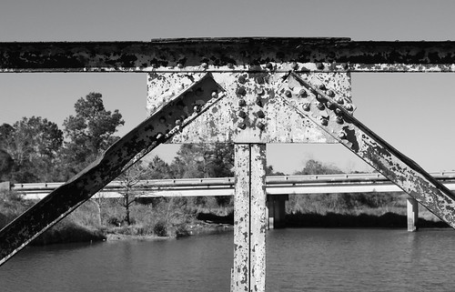 fm 105 pony truss swing movable bridge drawbridge island cow bayou cormier road bridgecity orange county texas abandoned decay vanishing black white blackandwhite blackwhite bw monochrome united states north america