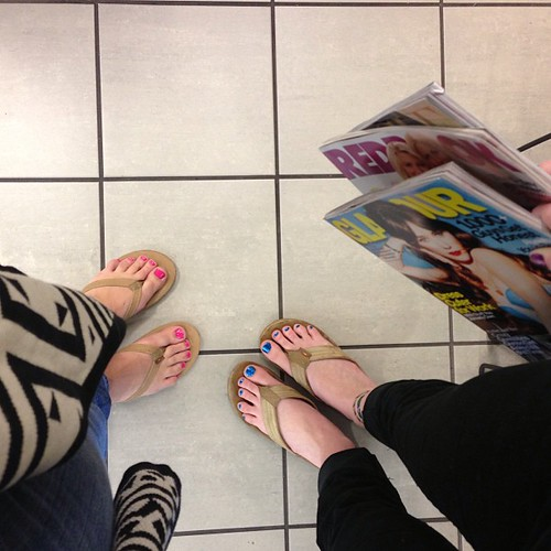 Went for pedicures and then stocked up on January issues. Having fun (Faith's last day).
