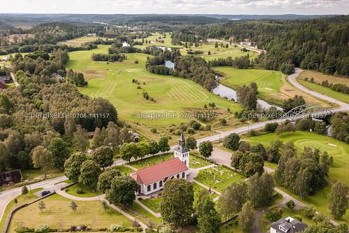 3 sverige bro kyrka swe västragötaland ätran flygfoto mårdaklev