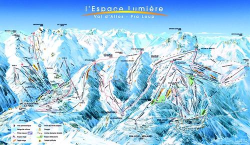 Praloup / Espace Lumiere - mapa sjezdovek