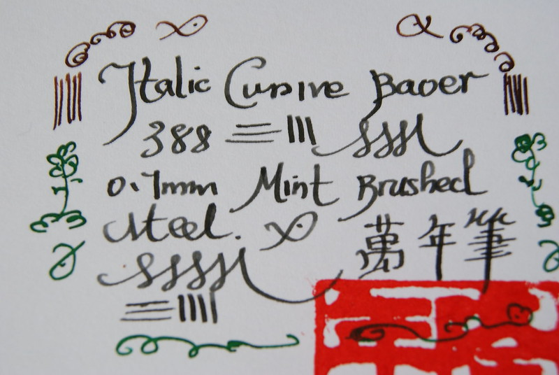 BAOER 388 BRUSHED STEEL ITALIC CURSIVE 0.7MM