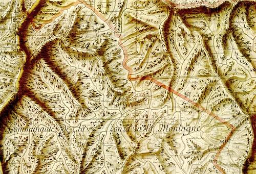 Extrait du Plan Terrier Rouleau 33 avec la région du Haut-Cavu et les ruisseaux principaux, Sainte-Lucie, Mela et leurs affluent