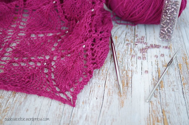 ethereal shawl with beads progress