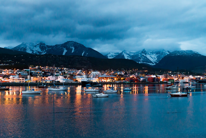 Ushuaia harbor at night