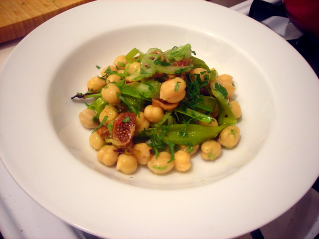 Chickpea and celery salad, with roasted leeks and Spanish figs