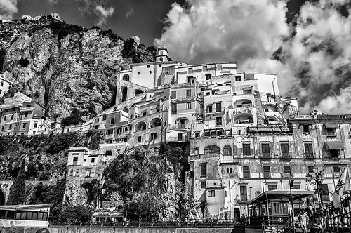 Port of Amalfi, Italy (black and white) by joeeisner