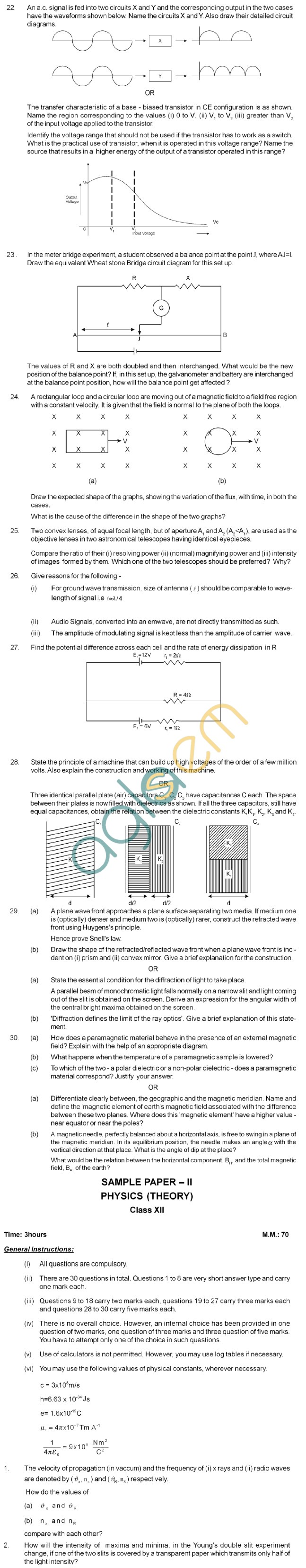CBSE Board Exam Sample Question Papers Class XII - Physics