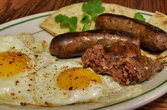meal, sausage, breakfast, boudin, food, full breakfast, dish, cuisine, bratwurst,