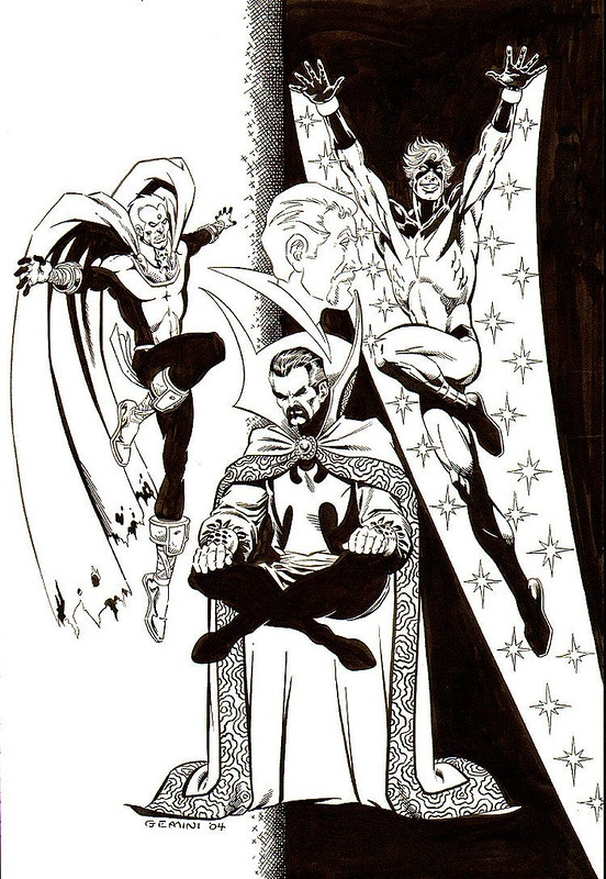 Jim Starlin and Al Milgrom Warlock, Capt. Marvel, Dr. Strange Illustration Illustration Original Art (2004)
