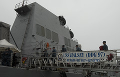 Sailors assigned to USS Halsey (DDG 97) board their newly-assigned ship after a hull swap with guided-missile destroyer USS Russell (DDG 59), Jan. 25.