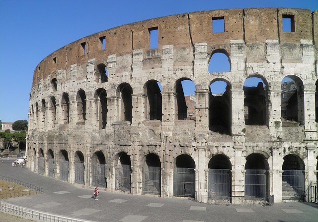 The outer south side of the Colosseum (Amphitheatrum), Colosseum Valley, Rome