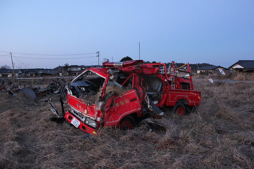 Fukushima Disaster, firetruck wreck