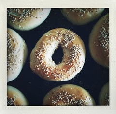 Bagels before and after baking