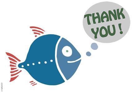En blå fisk med texten Thank You i en pratbubbla. Från Gröna gruppens kampanj i parlamentet