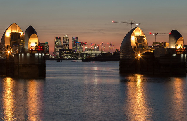 London Docklands and Thames Barrier at Sunset