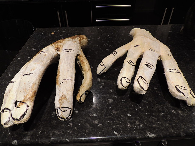 Making hands for a pantomime giant costume