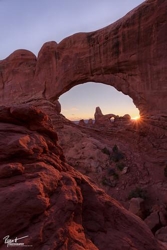 park winter sunset southwest nature photoshop landscape photography utah sandstone december arch national moab archesnationalpark 2012 sunstar northwindow turretarch exposureblending verticalcomposition iloveloons