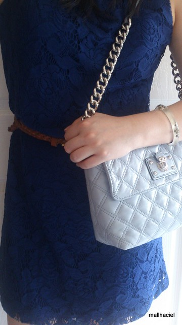 Sunday style - Blue Lace shift dress and Marc Jacobs Large Single Bag