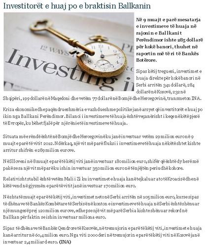 Investitorët e huaj po e braktisin Ballkanin