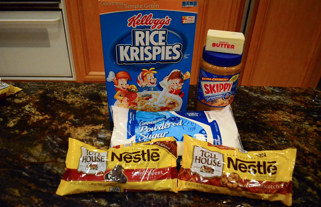 All the ingredients required to make Peanut Butter Bon Bons.