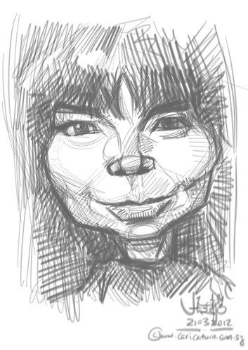 digital caricature sketch of Bjork.