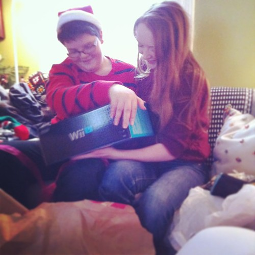 their reaction was pure joy, they started cooing in their shared sibling geek language #yule #teens #wiiu