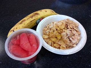 Frosted Flakes, Banana, and Red Grapefruit