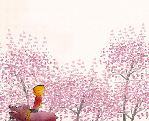 圖說:櫻滿開 這個圖是烏來吉野櫻櫻花季的時候後畫的。那時在寫生,正好遇上一個小孩悠閒地騎著山豬走過去,一片的粉紅色,多麼有喜感,又多麼協調而安靜。