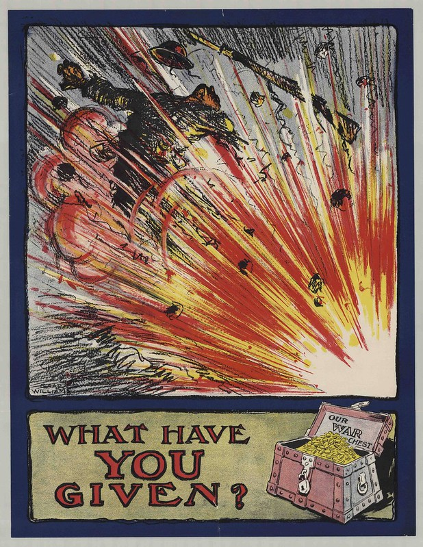 propaganda lithograph in colour with explosion and soldier flying through the air