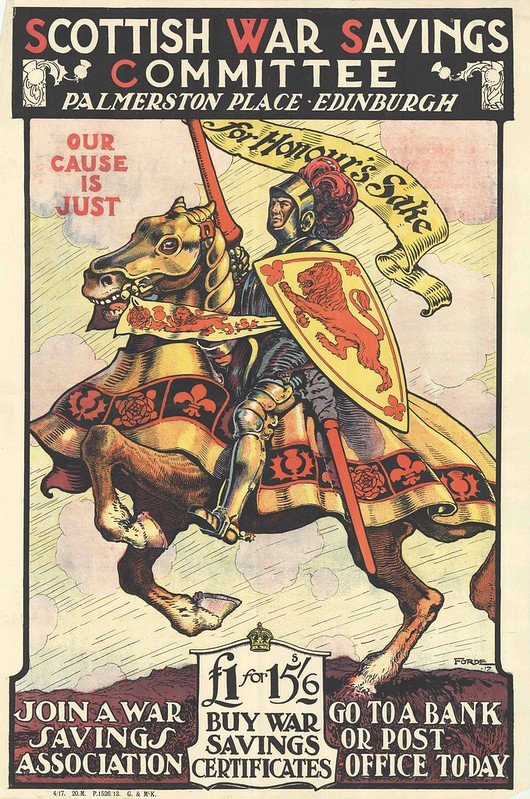 historic-style war propaganda poster with crusader knight on horseback