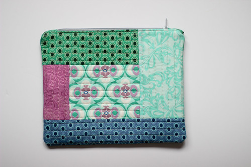 Quilted Green Zipper Pouch by Jeni Baker