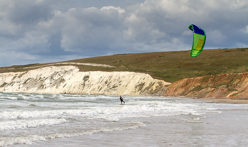 Kitesurfing at Compton Bay, Isle of Wight