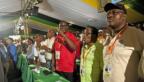 Leaders of the Congress of South African Trade Unions (COSATU) at the recently-held African National Congress elective conference at Manguang. COSATU leaders have been elected to the National Executive Committee of the ruling party. by Pan-African News Wire File Photos