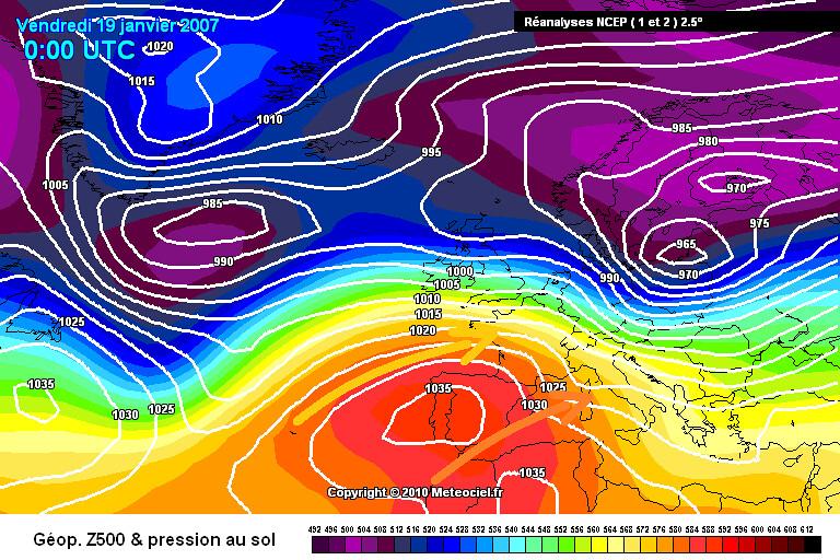 carte de situation lors des records mensuels de douceur et de chaleur du 19 janvier 2007 météopassion