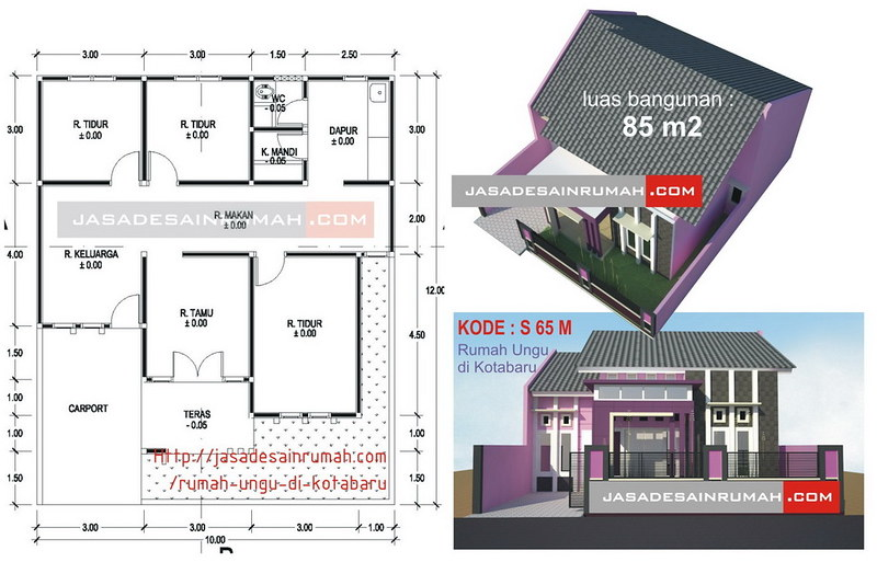 Rumah Minimalis Lantai 2 Nuansa Ungu  rumah ungu di kotabaru jasa desain rumah