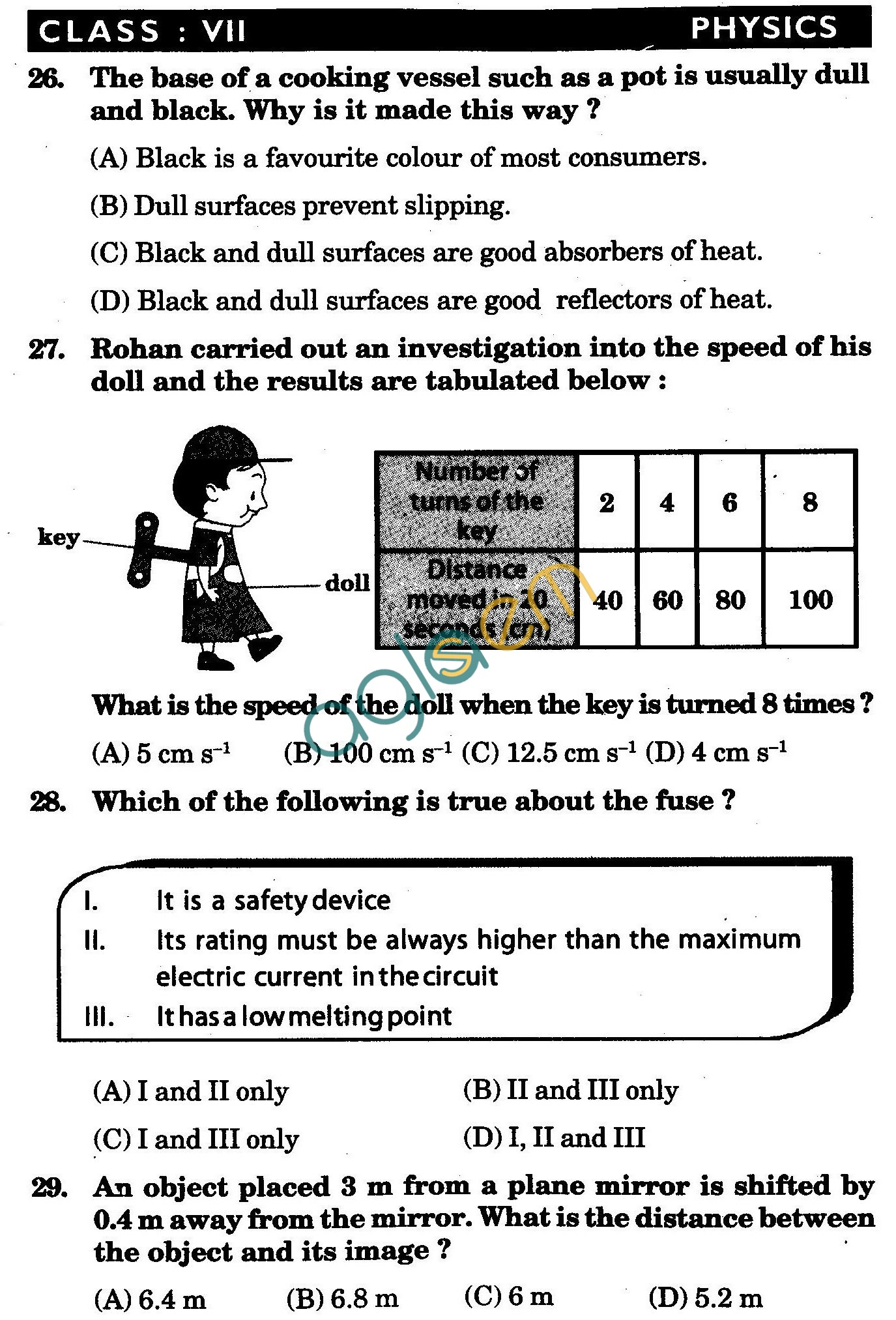 NSTSE 2010 Class VII Question Paper with Answers - Physics