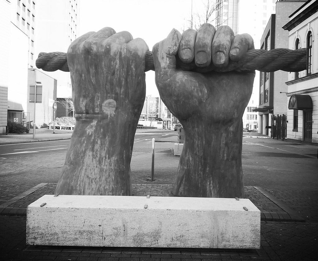 Cardiff big strong hands installation scupture