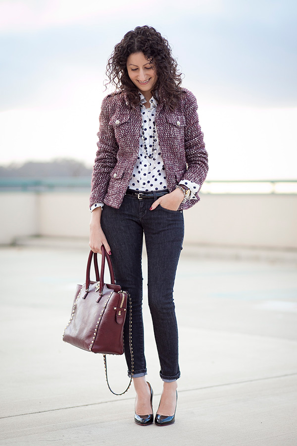 Burgundy Tweed & Polka Dots