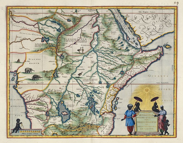 17th c. hand-coloured map of Ethiopia and north east africa