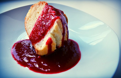 Almond Bundt w/ Raspberry Sauce