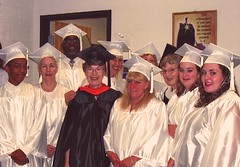 Brigid Dunne SSL (front row, 3rd from left) & Teresa Marry SSL (back row, black gown) with GED Graduates