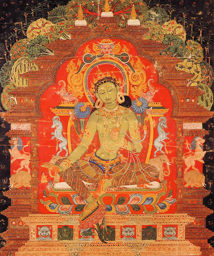 016-13th century Tibetan thangka painting Old Green Tara-Wikimedia Commons